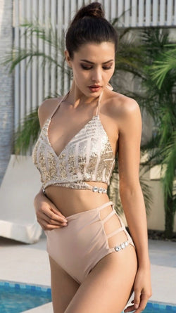 Jessica Bara Bondi Sequin High Waisted Bikini Set