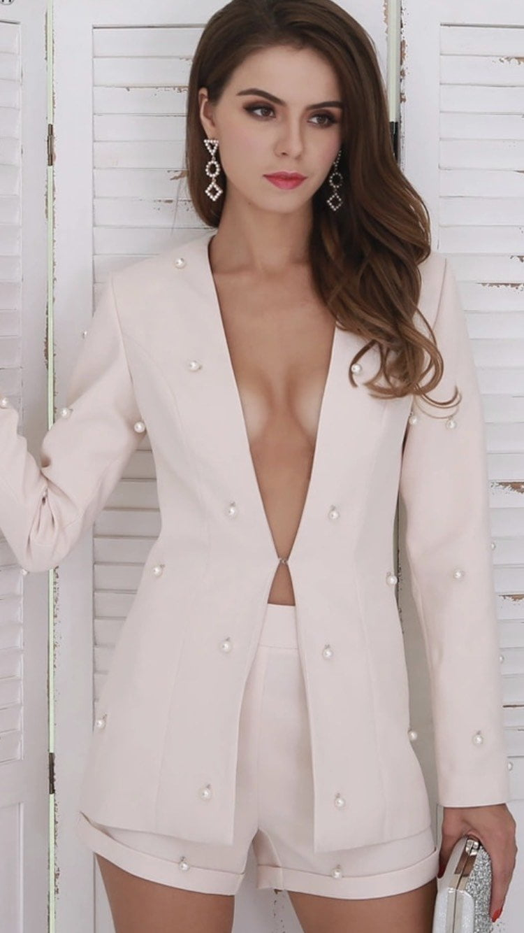 Jessica Bara Janny Pearl Embellished Two Piece Blazer and Short Set