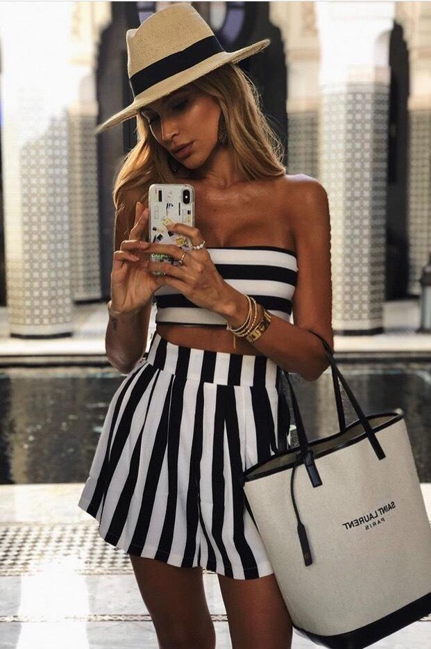 Jessica Bara Grace Black and White Stripe Two Piece Set
