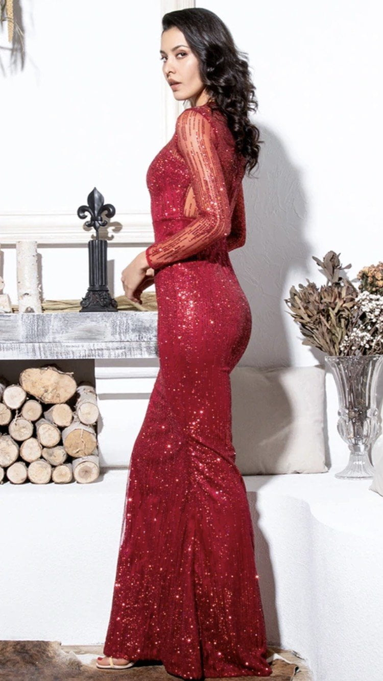 Jessica Bara Brooklyn Sequin Long Sleeve Gown