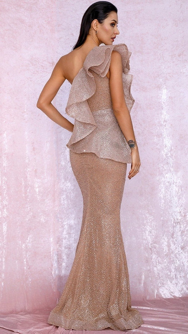 Jessica Bara Briella One Shoulder Ruffle Rose Gold Gown