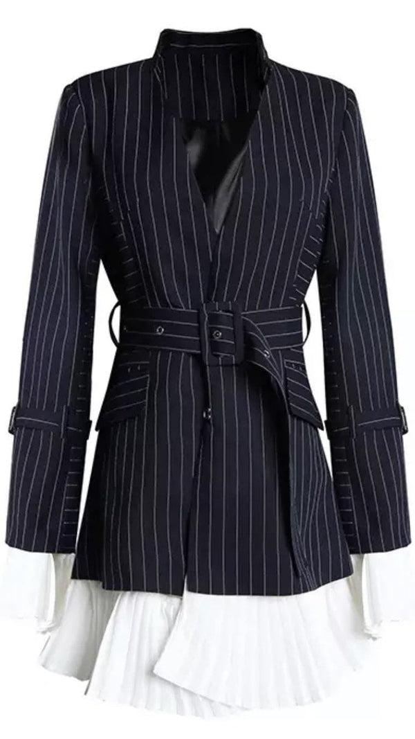 Jessica Bara Ellie Stripe Blazer with Pleated Hem