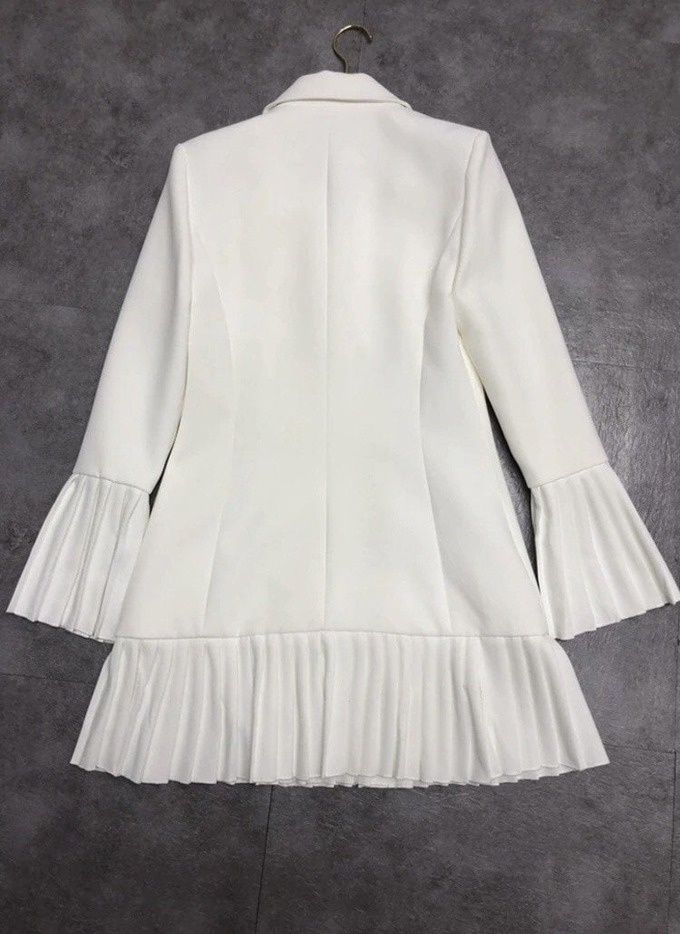 Jessica Bara Jarin Pleated Long Sleeve Blazer Dress