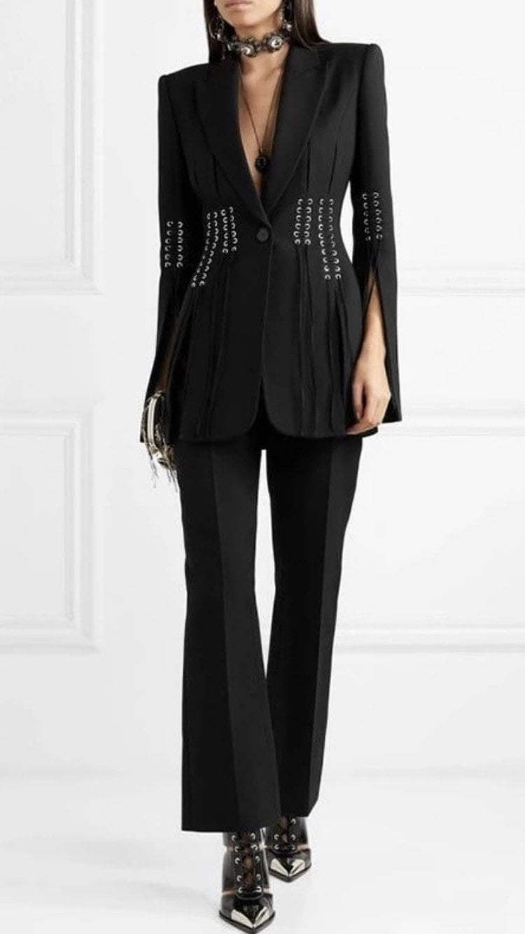 Jessica Bara Bethany Lace Up V-Neck Blazer