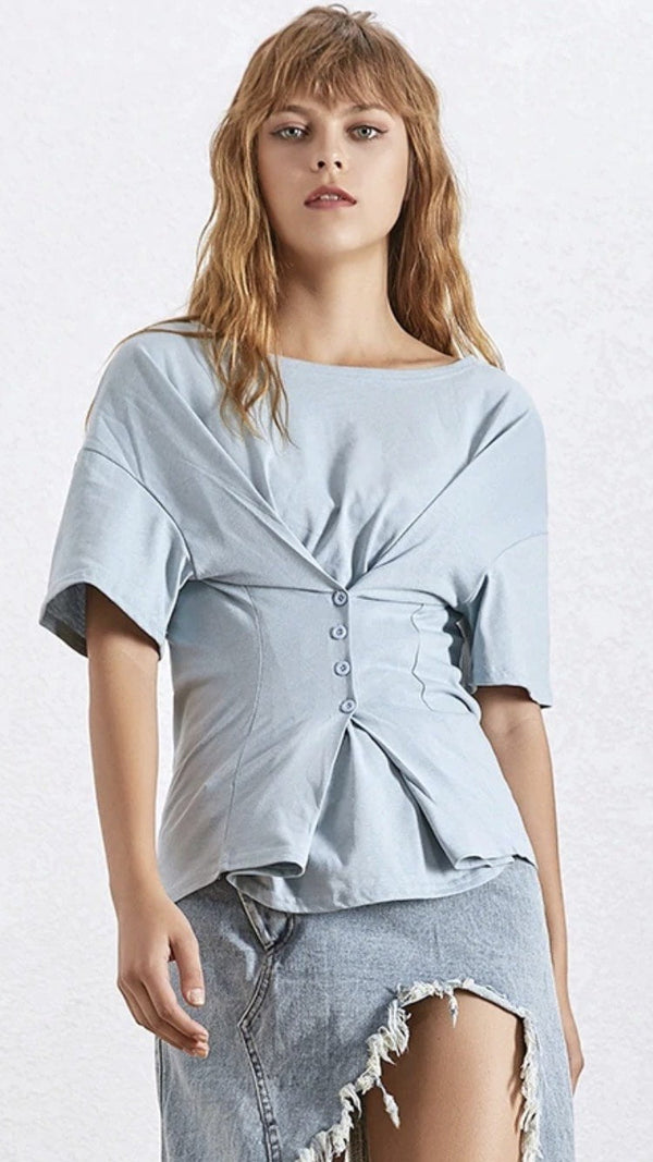 Jessica Bara Saige Short Sleeve Button Down Top