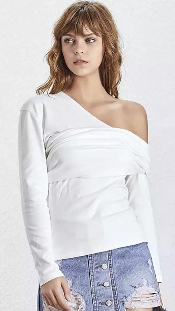 Jessica Bara Miley Asymmetrical Long Sleeve Top