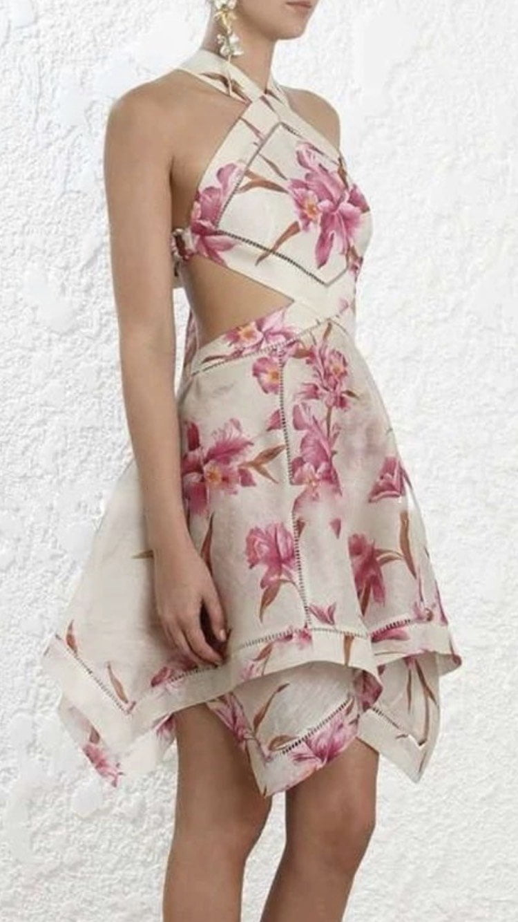 Jessica Bara Ruthie Halter Floral Cut Out Dress