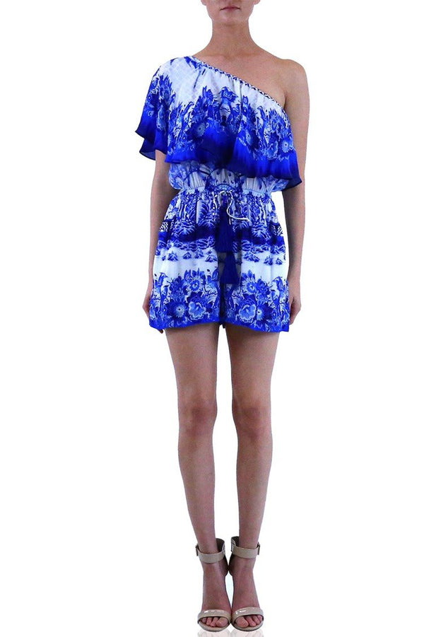 Shahida Parides Porcelain Print Off the Shoulder Romper