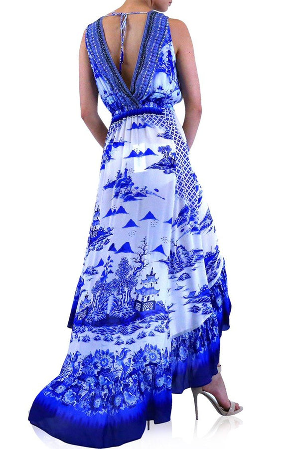 Shahida Parides Sky Azure Ruffle Hi-Low Maxi Dress