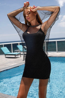 Jessica Bara Destiny Fishnet Long Sleeve Dress