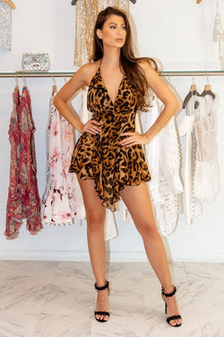 Jessica Bara Charli Leopard Mini Dress