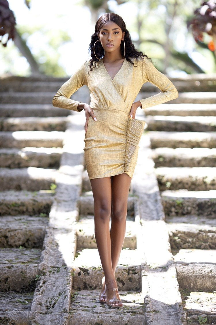 Cioccolato Miranda Gold Long Sleeve Dress
