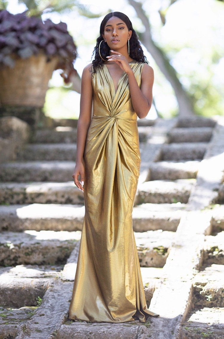 Cioccolato Goddess Gold Sexy Maxi Dress