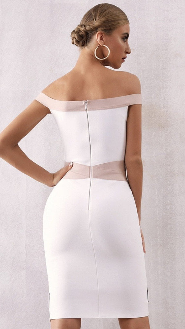 Jessica Bara Skylar Bandage Off the Shoulder Dress