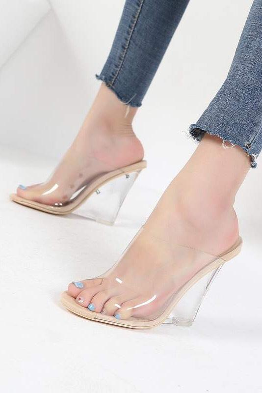 Cami Clear Nude Wedges