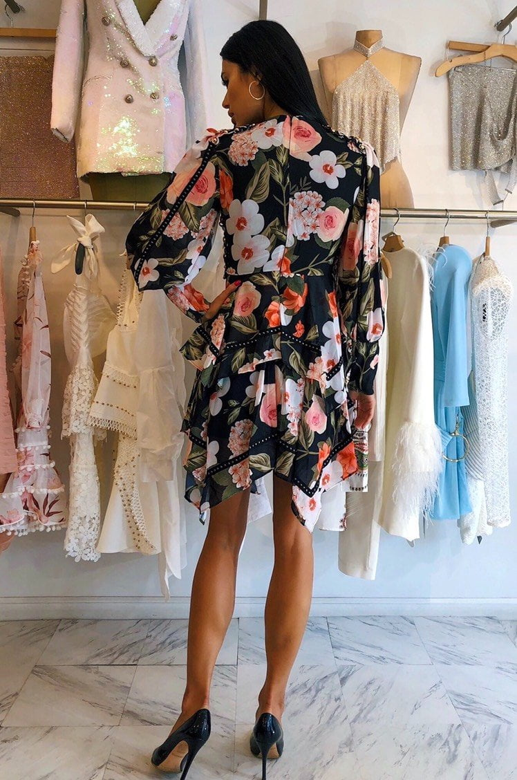 Jessica Bara Everly Floral Lace Up Long Sleeve Dress
