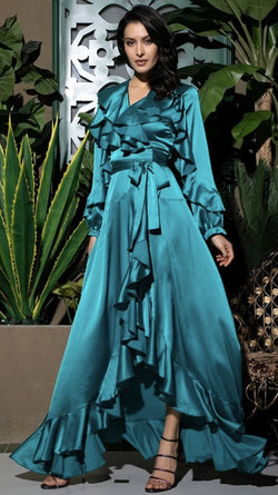 Jessica Bara Zion Ruffle Wrap Maxi Dress