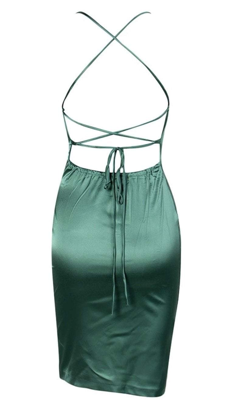 Jessica Bara Annika Satin Open Back Midi Dress