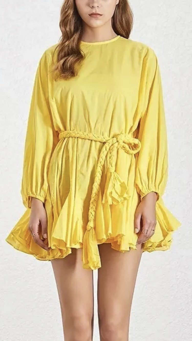 Jessica Bara Peggy Pleated Long Sleeve Belted Mini Dress