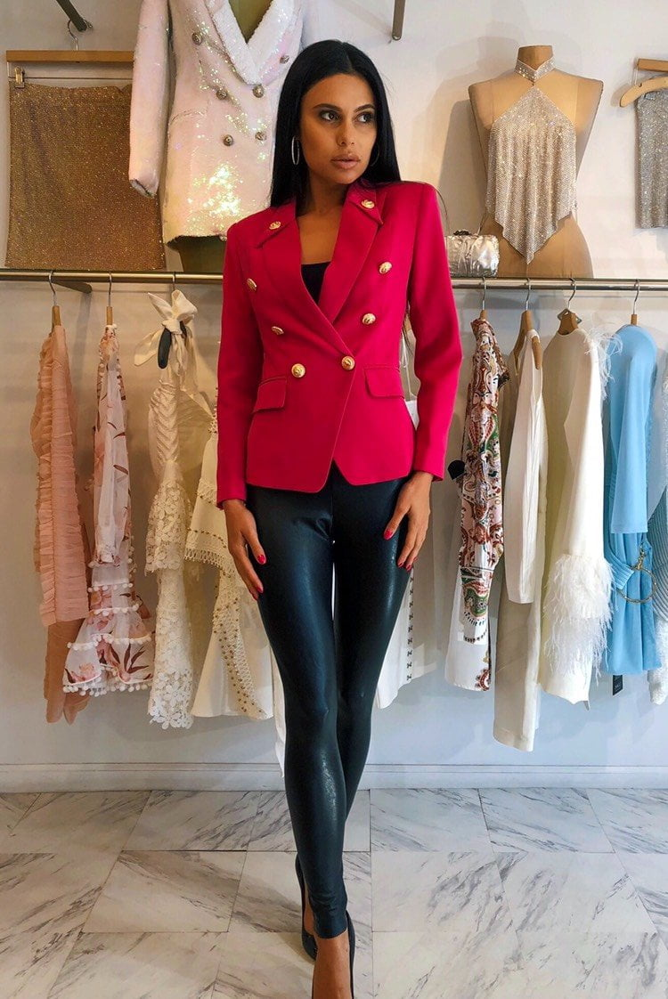 Jessica Bara Luisa Raspberry Gold Button Blazer