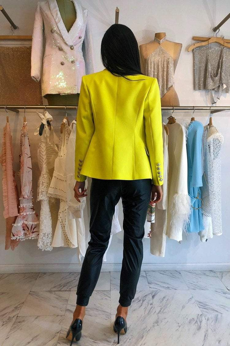 Jessica Bara Donatella Neon Lime Gold Button Blazer
