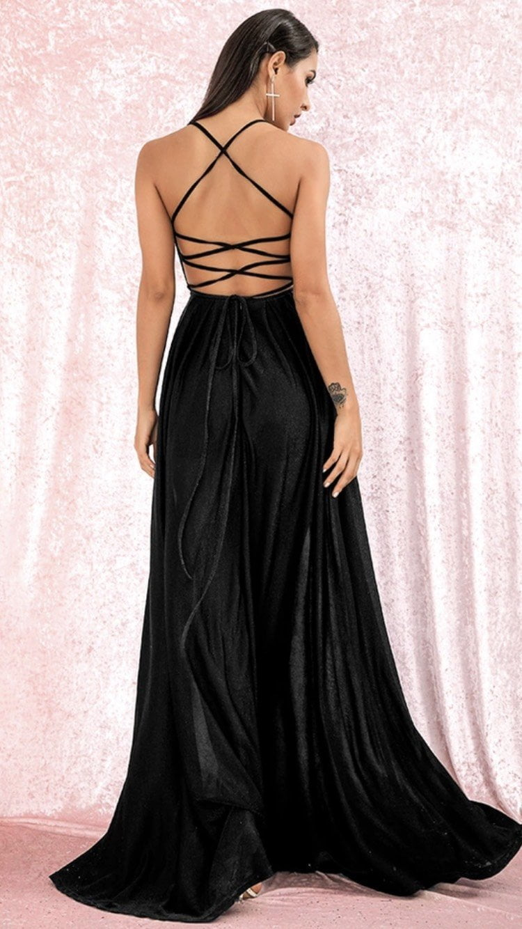 Jessica Bara Margot Backless V Neck Maxi Dress