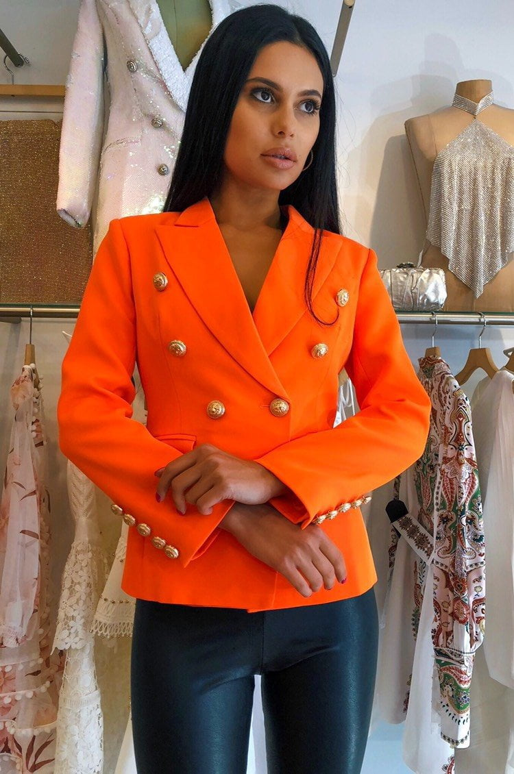 Jessica Bara Donatella Neon Orange Gold Button Blazer