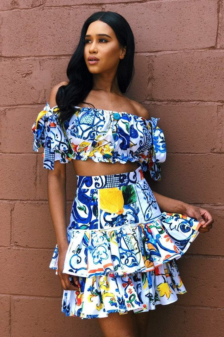 Jessica Bara Margarita Printed Button Two Piece Set