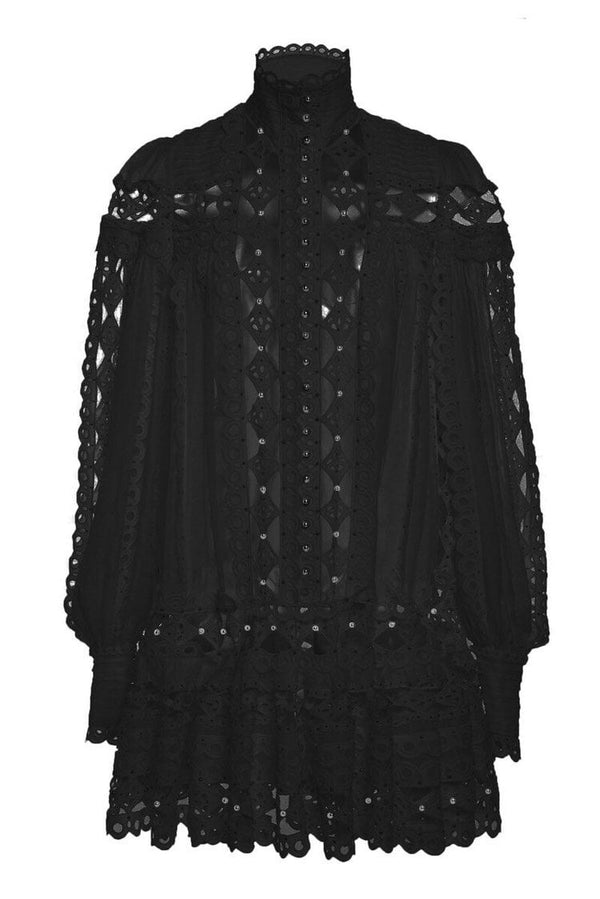 Jessica Bara Amie Ruffle Studded Mini Dress