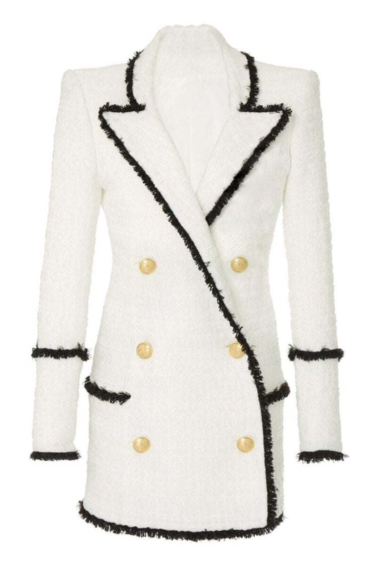 Jessica Bara Ariel Black and White Tweed Blazer