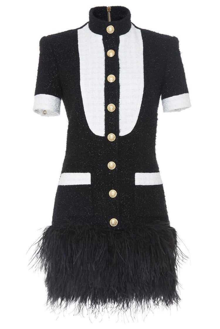 Jessica Bara Nicki Tweed Feather Dress