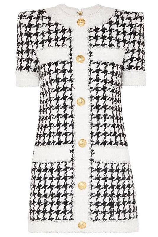 Jessica Bara Kaitlyn Tweed Houndstooth Mini Dress