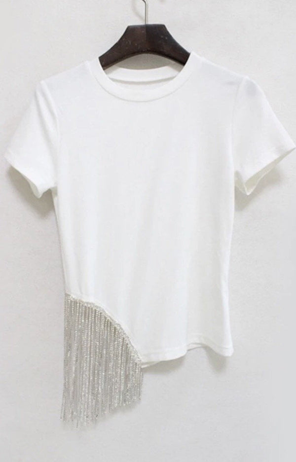 Jessica Bara Jena Diamond Tassel Short Sleeve Top