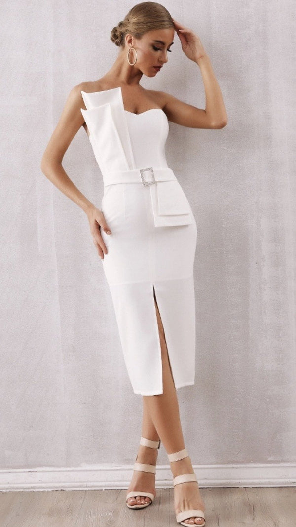 Jessica Bara Aviana Structured Belted Midi Dress
