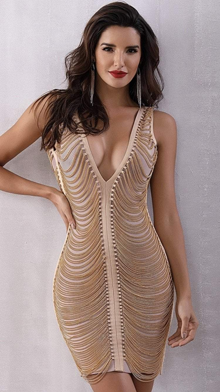 Jessica Bara Gianna Fringe Gold Mini Dress