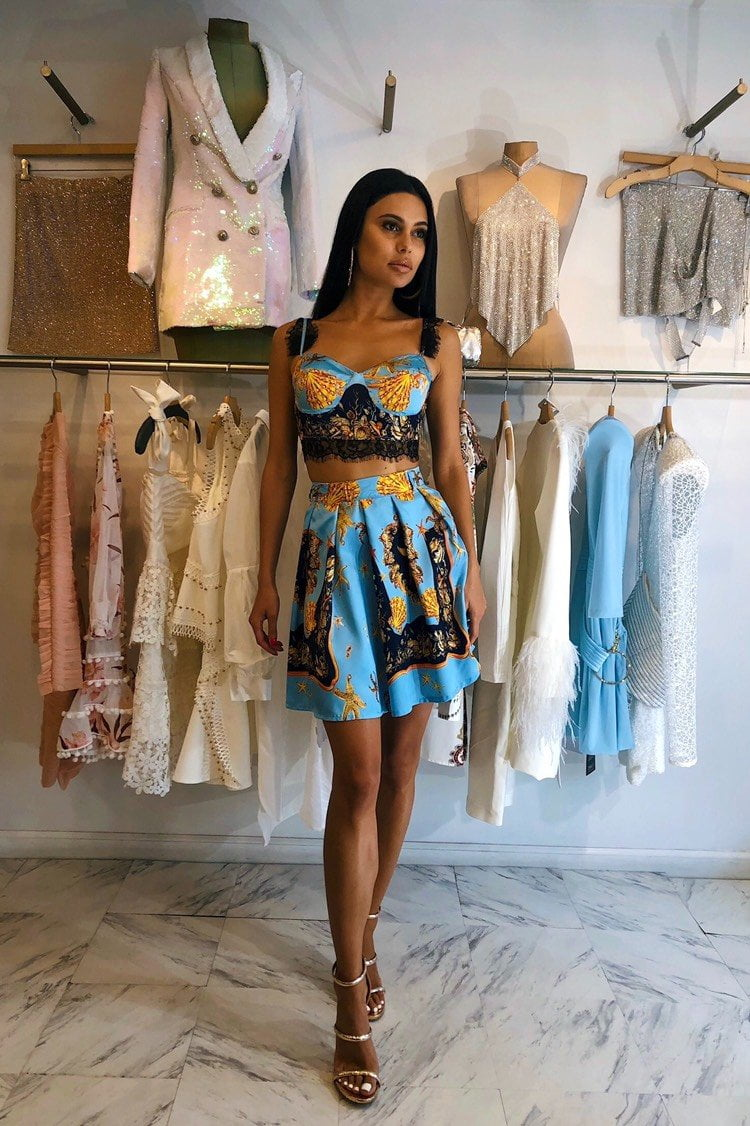 Jessica Bara Janessa Chain Print Two Piece Crop Top and Pleated Skirt