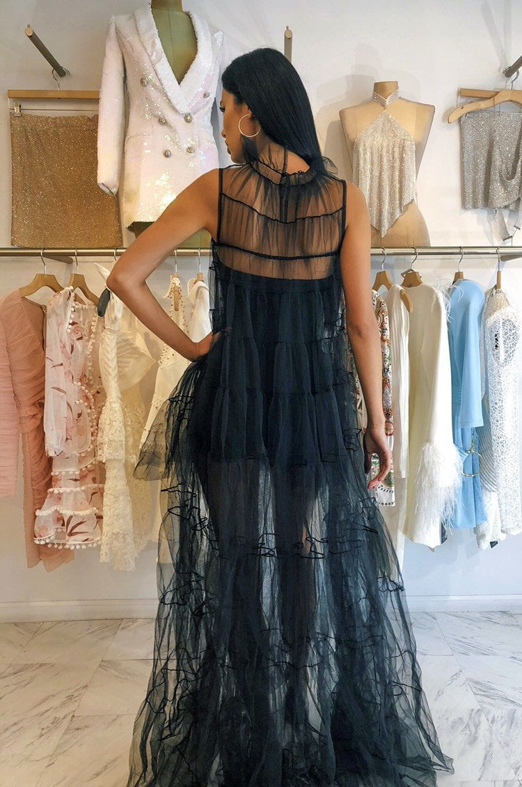 Jessica Bara Kendra High Low Tulle Maxi Dress