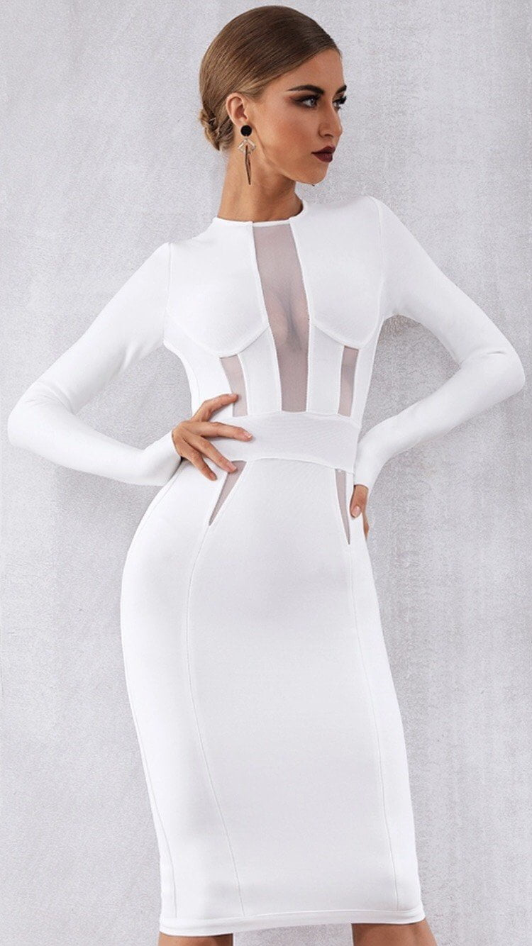 Jessica Bara Georgia Long Sleeve Bandage Midi Dress