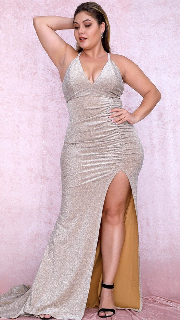 Jessica Bara Ariella Plus Size Strappy Back Gown