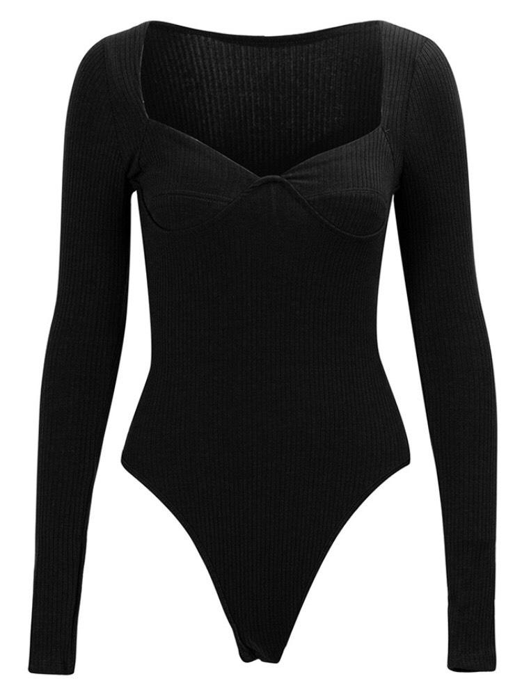 Jessica Bara Riley Long Sleeve V Neck Bodysuit