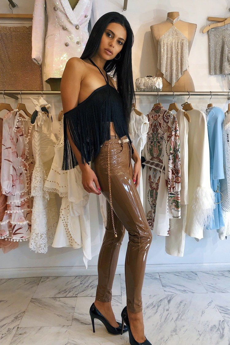 Jessica Bara Jane Open Shoulder Fringe Crop Top