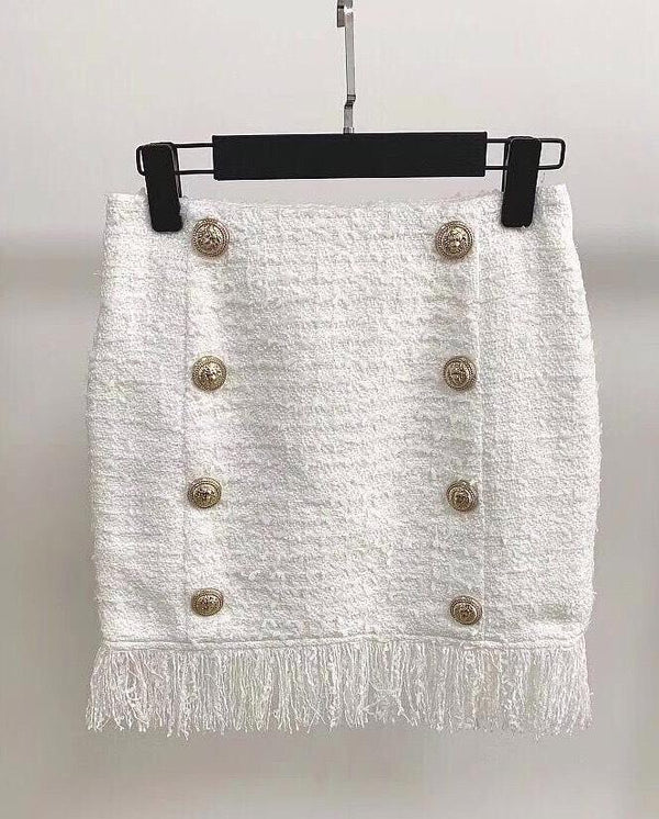 Jessica Bara Lila Tweed Gold Button Mini Skirt