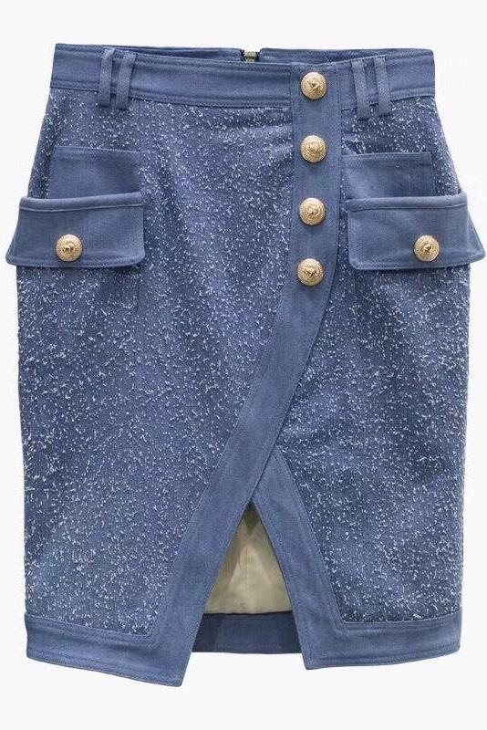 Jessica Bara Baylee Gold Button Skirt