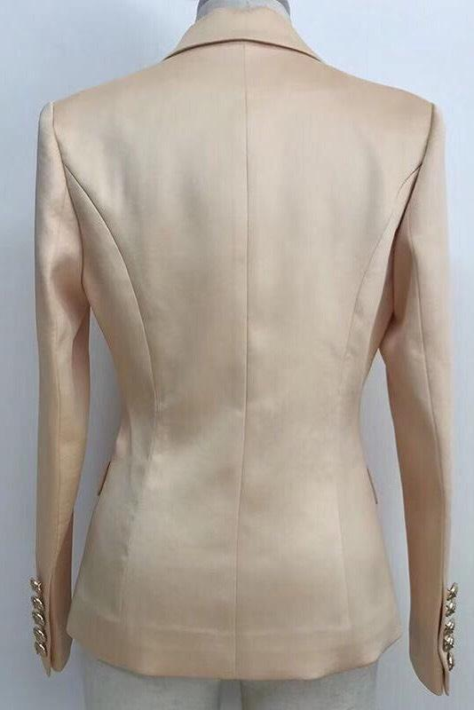 Jessica Bara Donatella Satin Gold Button Blazer