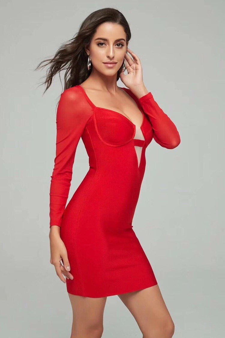 Jessica Bara Dasha Bodycon Long Sleeve Dress