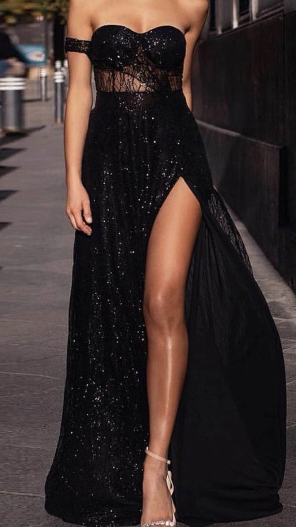 Jessica Bara Jazmin Off the Shoulder Glitter Maxi Dress