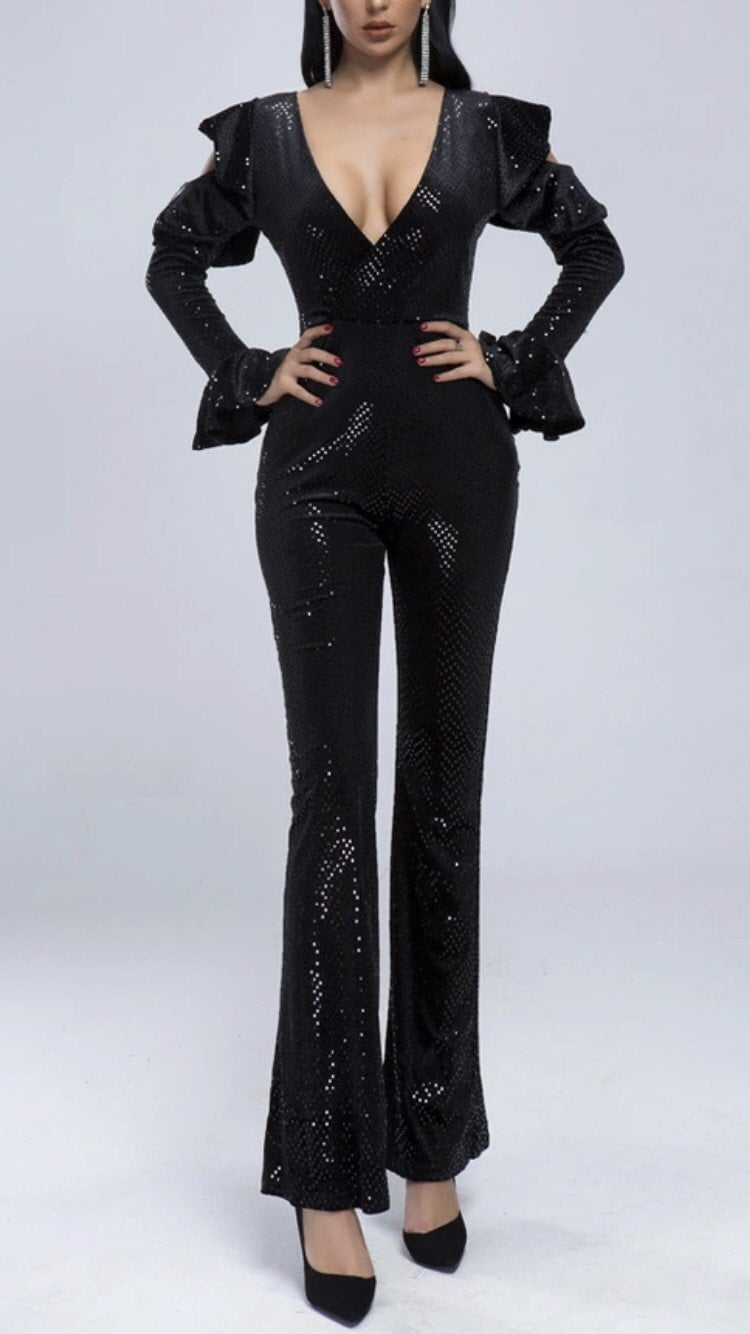 Jessica Bara Alison Sequin Cold Shoulder Jumpsuit
