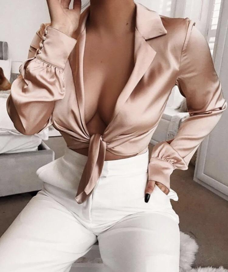 Jessica Bara Brooke Long Sleeve V-Neck Bodysuit