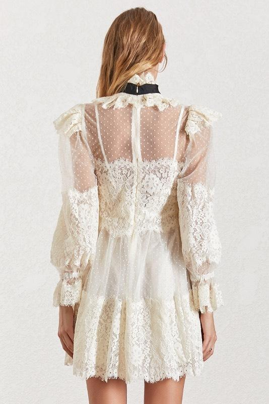 Jessica Bara Greta Long Sleeve Neck Tie Lace Mini Dress