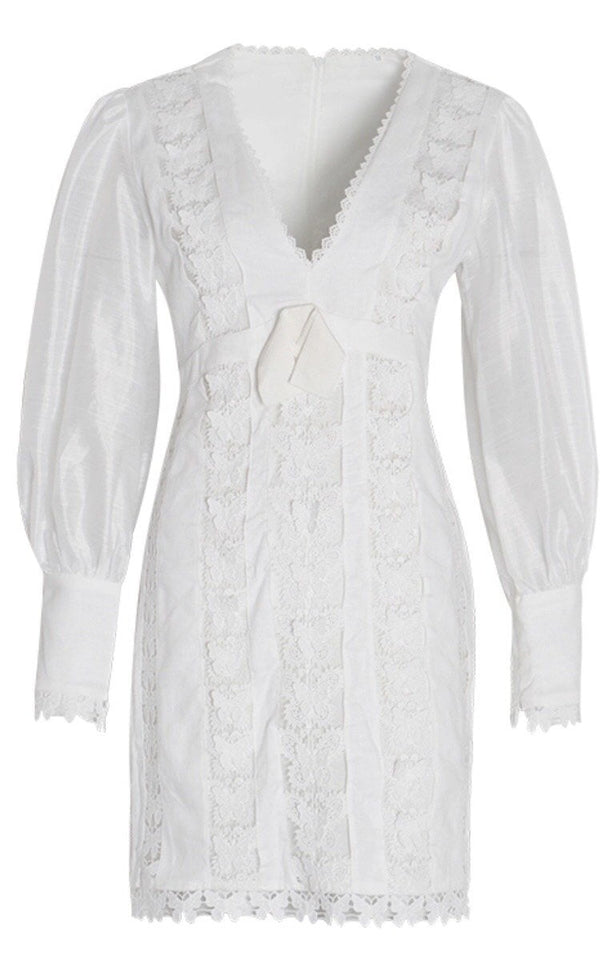 Jessica Bara Monique Embroidery Long Sleeve Mini Dress